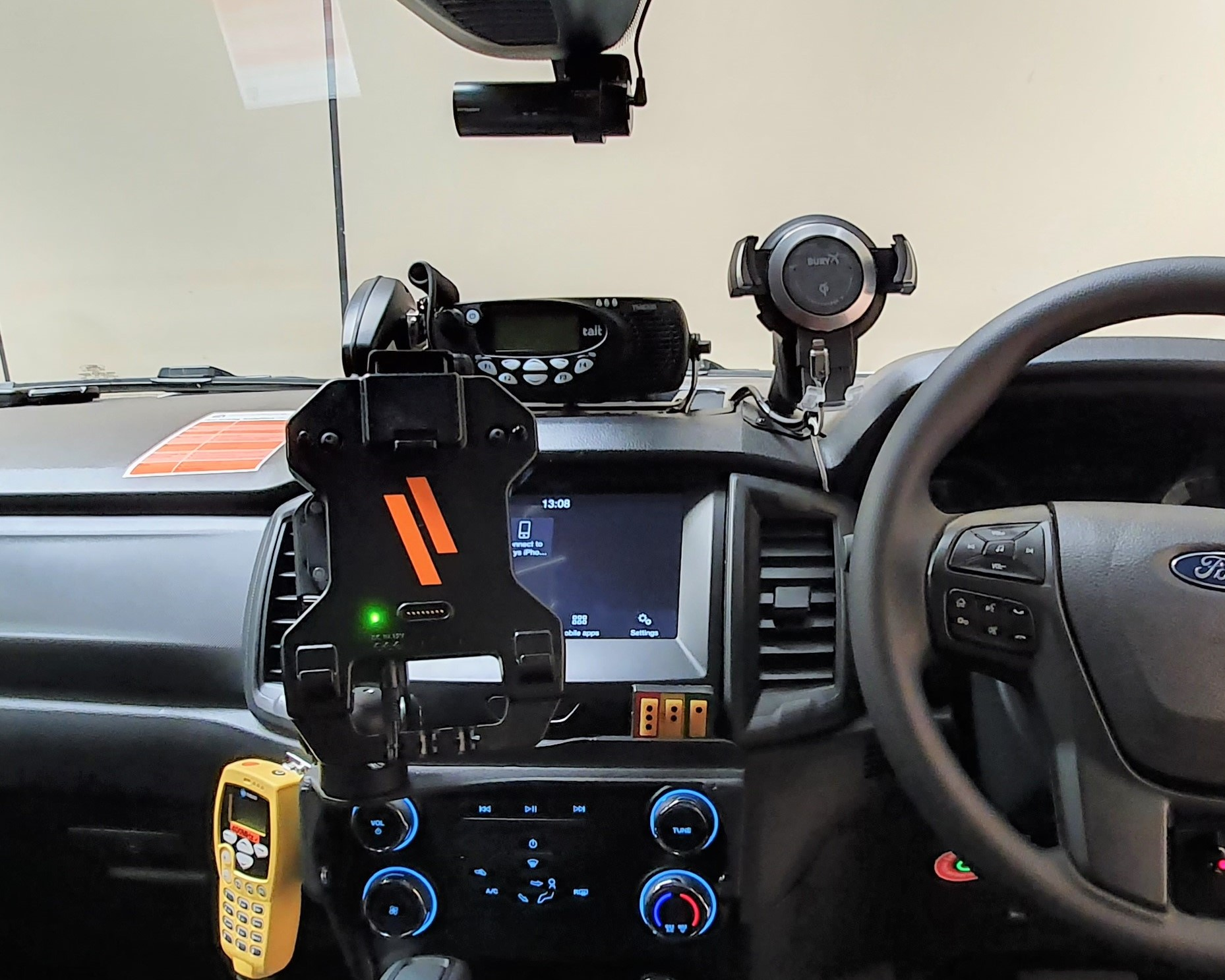 Havis Vehicle Dock installed into Ford Ranger with Dash Mounting Kit