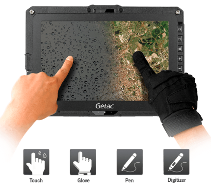 Field worker using Getac UX10 with gloves