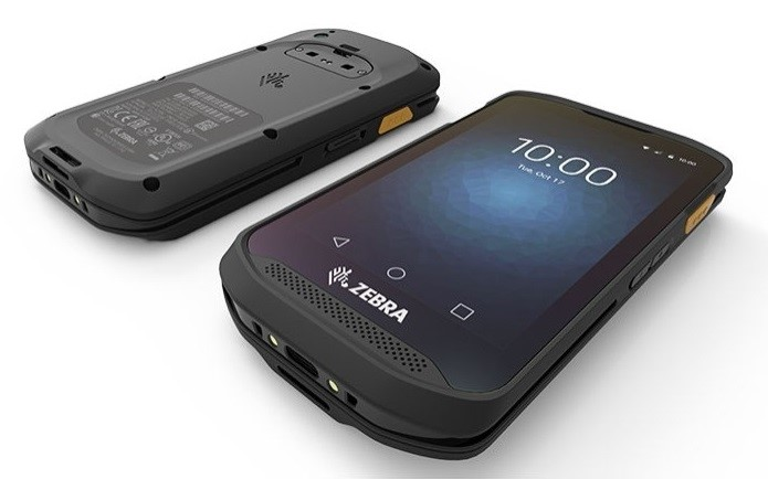 The Zebra TC25 rugged smartphone front and back on white background