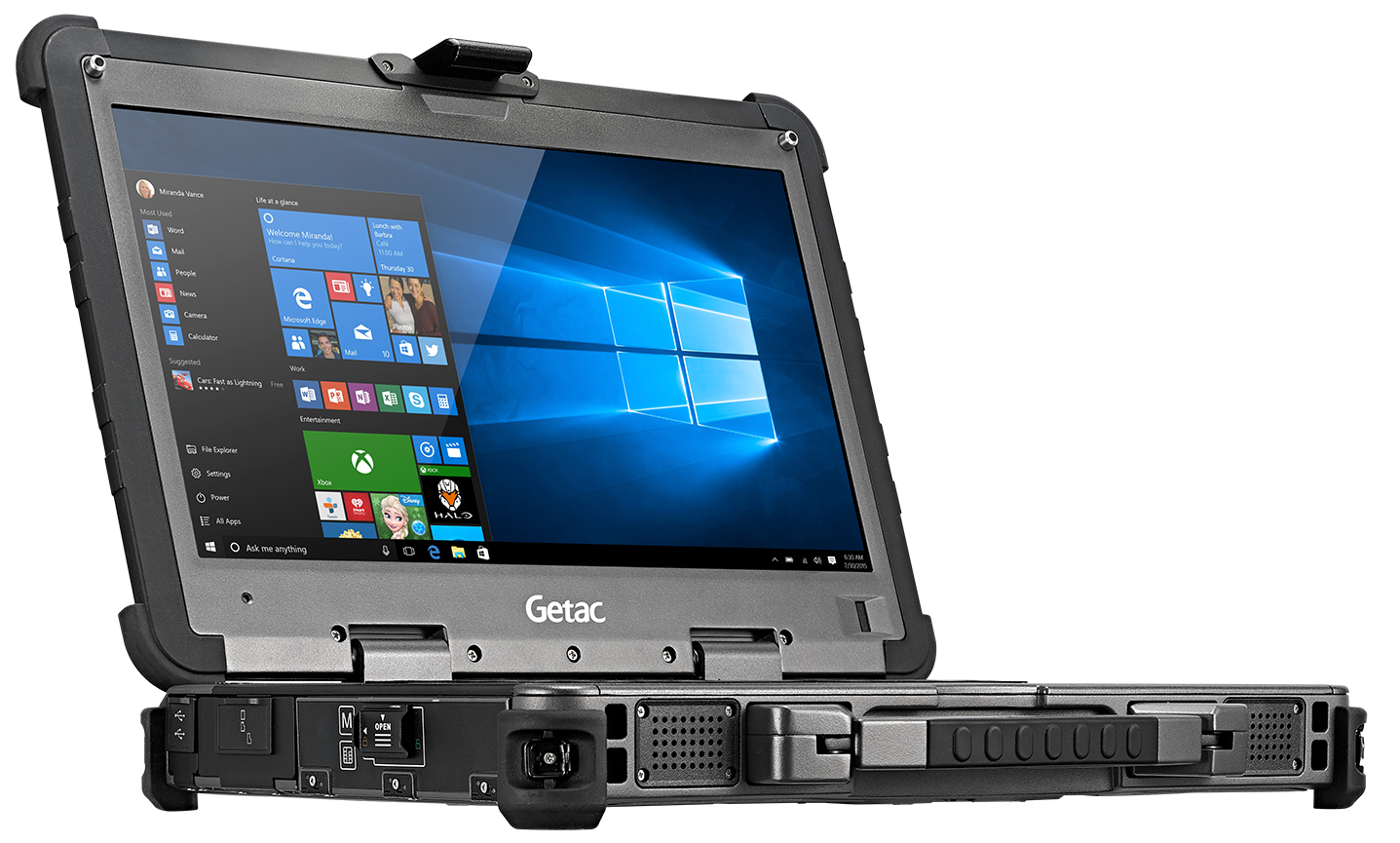 Side view of the Getax X500 rugged laptop