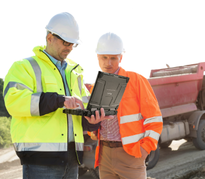 Engineers using the Getac B300 on a construction site