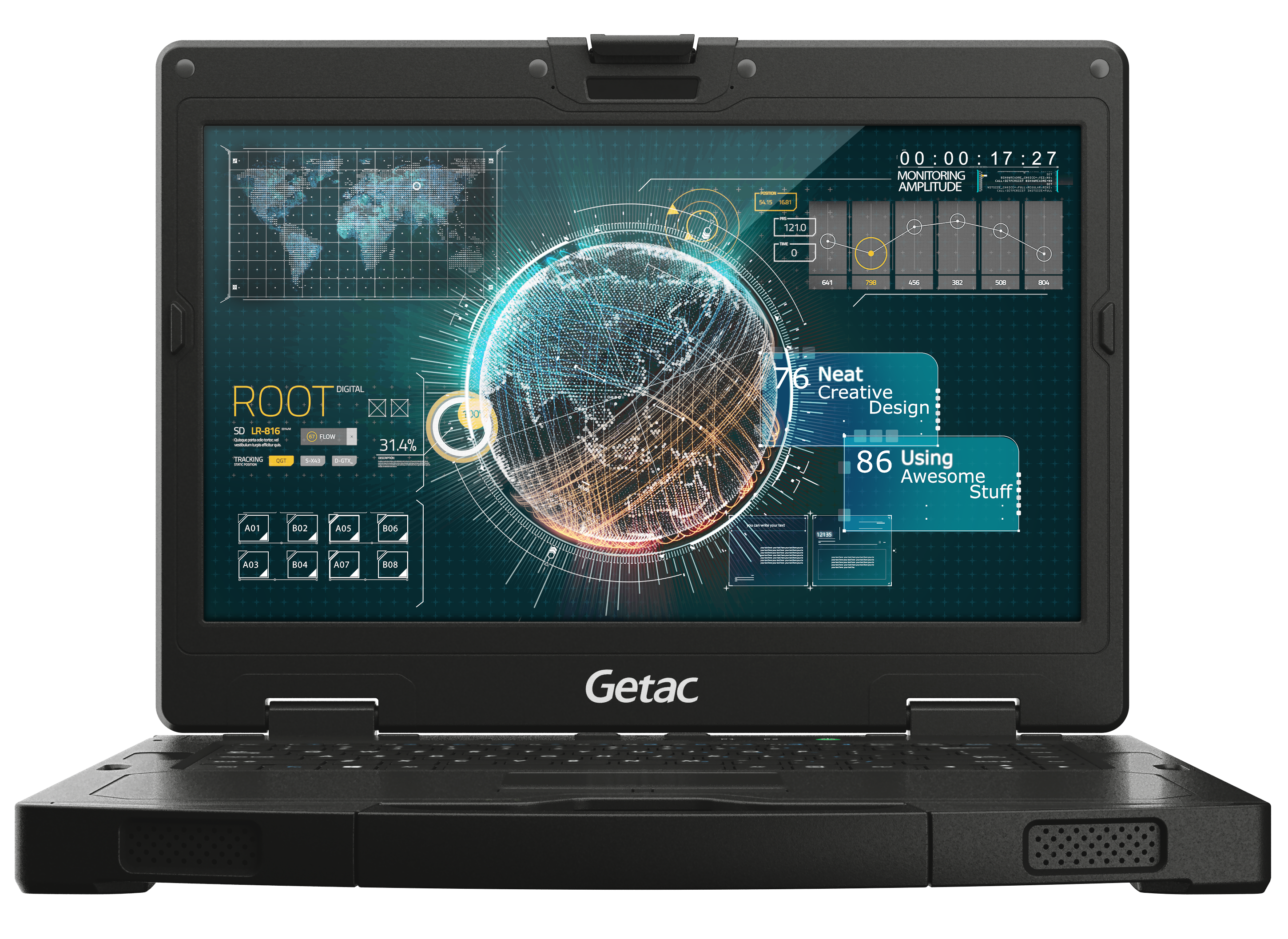 Getac S410 multi-factor authentication and customisation features.