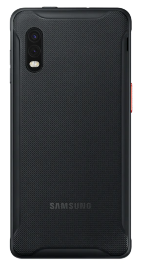 Back view of Galaxy XCover Pro Rugged Smartphone on white background